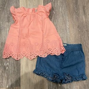 Primark Eyelet Top Ruffle Shorts Outfit Size 12-18